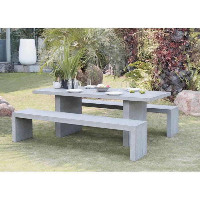 Salon de jardin aspect béton table 200x90x75cm + 2 bancs 200x40x45cm ...