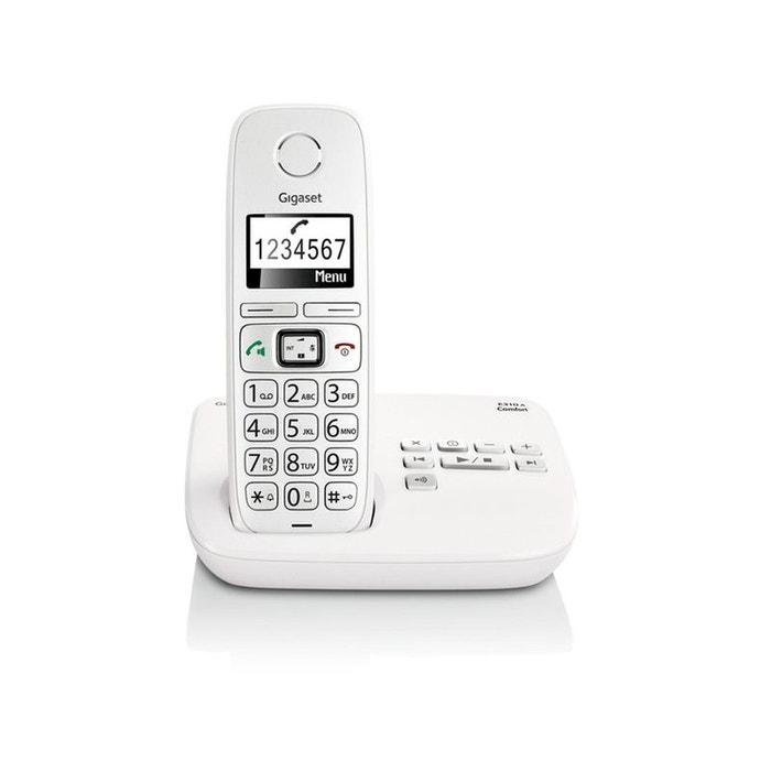 T l phone r pondeur sans fil gigaset e310a comfort blanc couleur unique gigaset la redoute - La redoute telephone gratuit ...