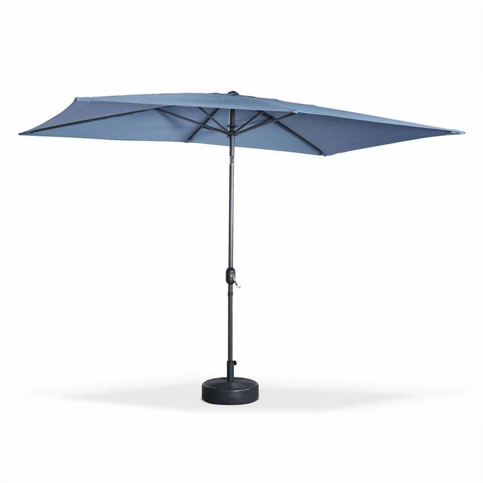 parasol droit touquet rectangulaire 2x3m bleu gris m t central aluminium orientable et. Black Bedroom Furniture Sets. Home Design Ideas