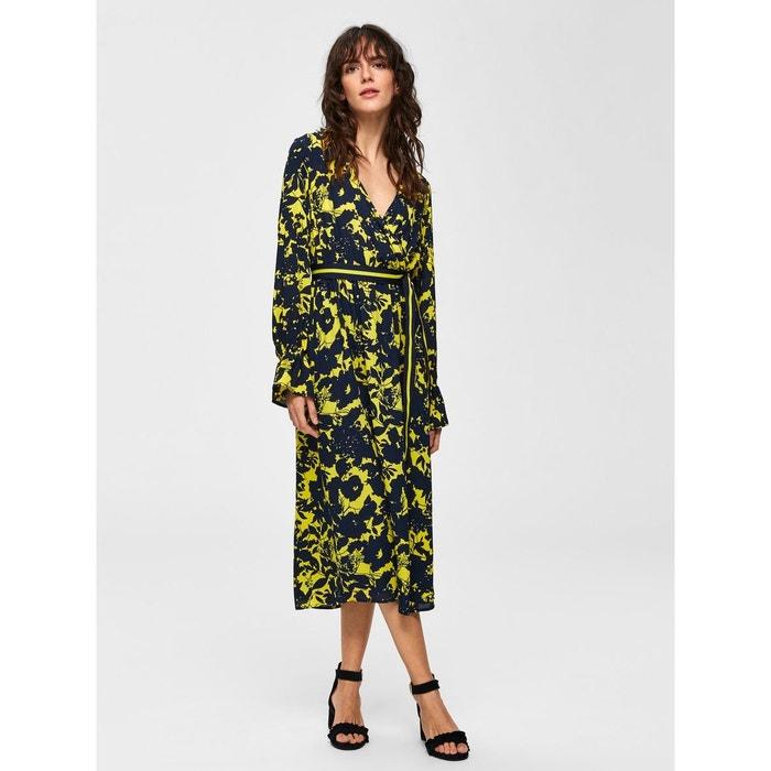 8e4b3495b5a Robe mi-longue imprimé fleuri - jaune-vibrant yellow Selected Femme ...