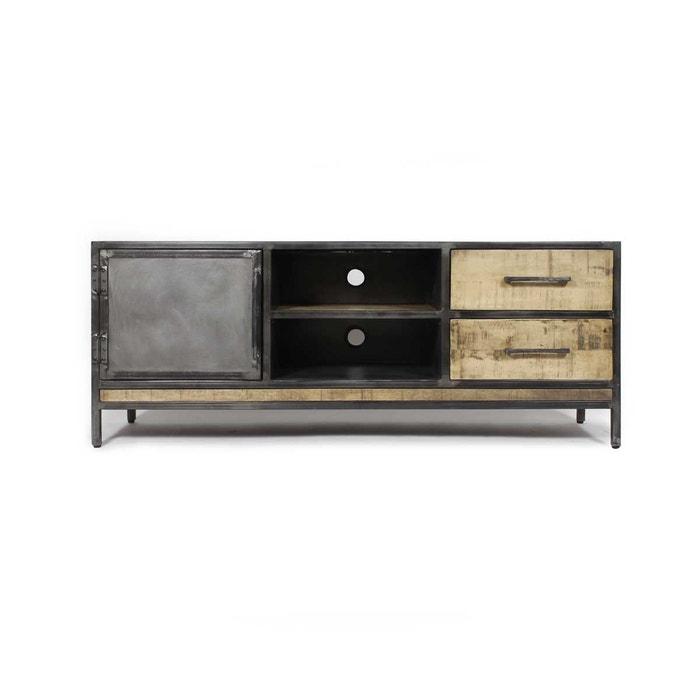Meuble tv industriel 1 porte, 2 tiroirs manguier et métal | if887 ...