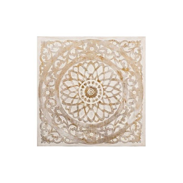 tableau abstrait rosace arabesque tons blancs et beiges 100x100cm beige pier import la redoute. Black Bedroom Furniture Sets. Home Design Ideas