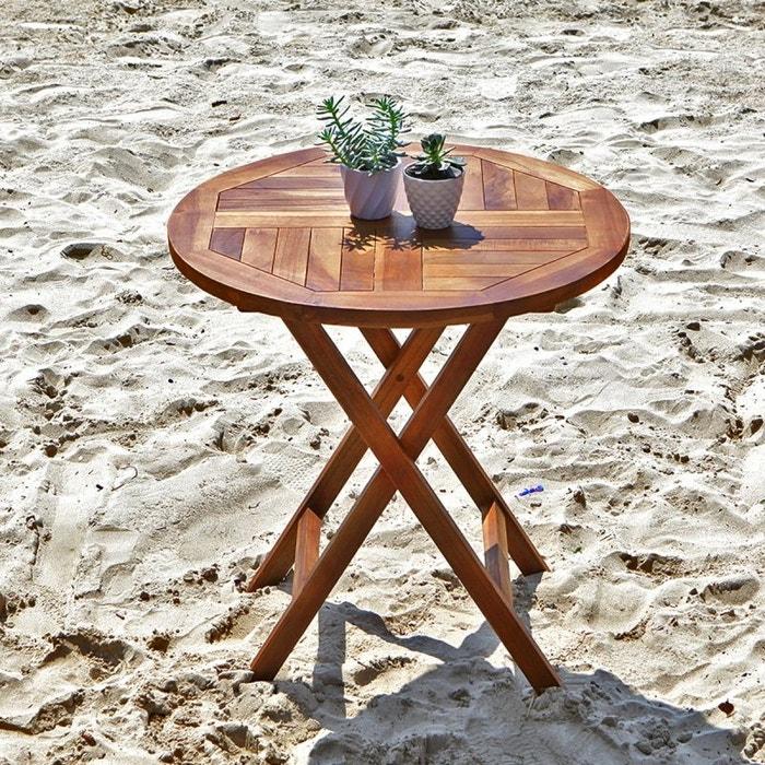Table de jardin en bois de teck ronde pliante teck huil bois dessus bois dessous la redoute - Table de jardin en bois ...