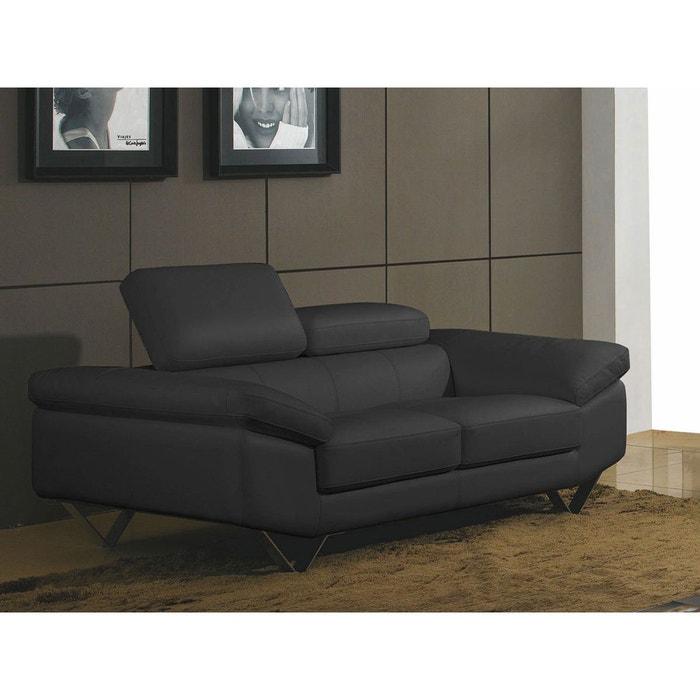 canap cuir 2 places magnolia noir la maison du canape. Black Bedroom Furniture Sets. Home Design Ideas