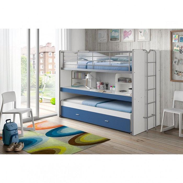 lit superpos 3 couchages bureau bleu bleu terre de nuit. Black Bedroom Furniture Sets. Home Design Ideas