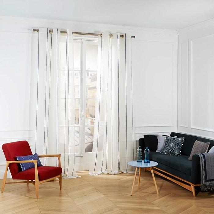 voilage oeillets lin heraklion blanc bleu blanc bleu madura la redoute. Black Bedroom Furniture Sets. Home Design Ideas