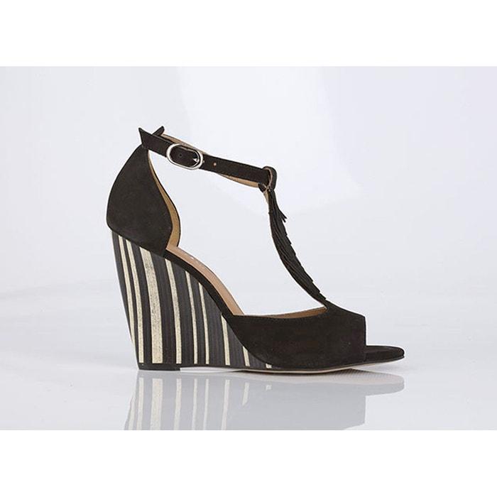 Sandales cuir détail franges brady   noir Mellow Yellow   La Redoute