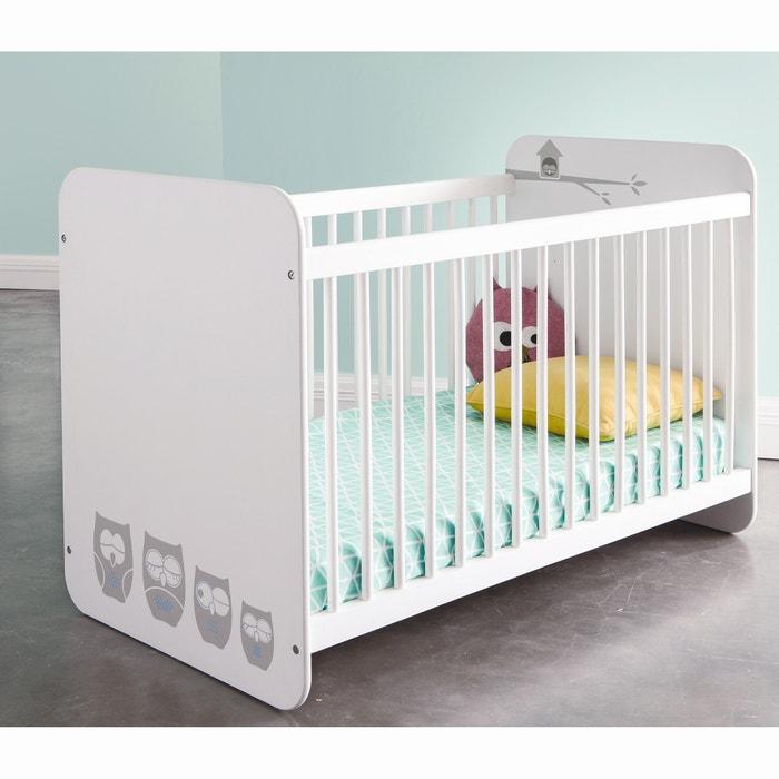 lit b b barreaux hiboux les petits prix blanc la redoute. Black Bedroom Furniture Sets. Home Design Ideas