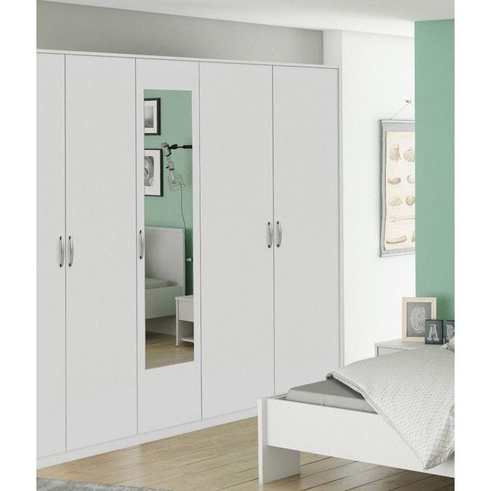 armoire 5 portes blanc perle largeur 216 cm am126 blanc. Black Bedroom Furniture Sets. Home Design Ideas