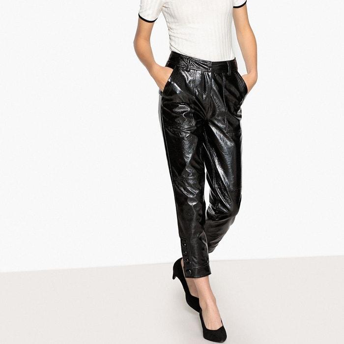 Pantalon slim en simili brilliant noir La Redoute Collections  fb94585d7a0