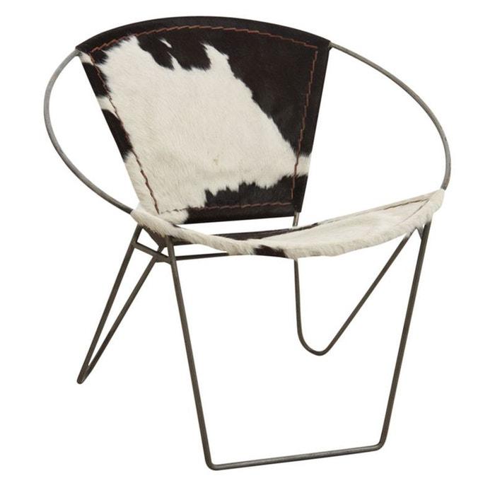 fauteuil en peau de vache et m tal naturel aubry gaspard la redoute. Black Bedroom Furniture Sets. Home Design Ideas