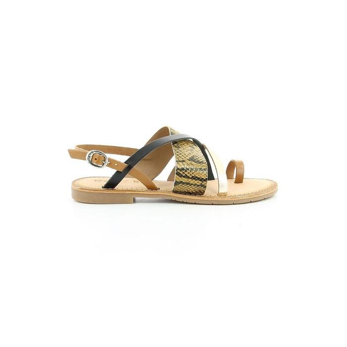 Sandale  cuir femme ethnou  camel Kickers  La Redoute
