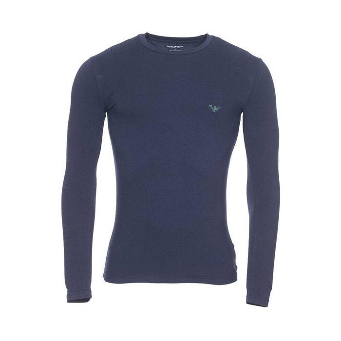 d00426360c31c Tee-shirt manches longues col rond en coton stretch bleu Emporio Armani |  La Redoute