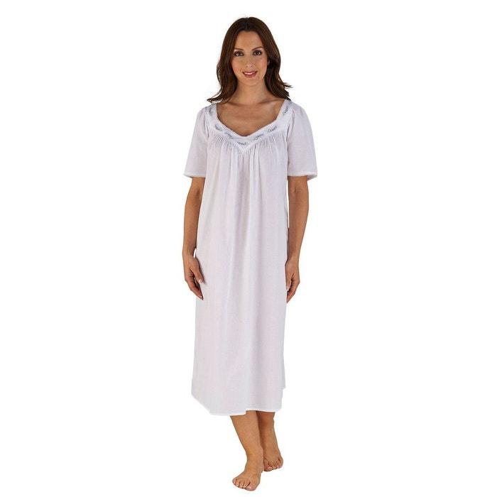87280179be525 Chemise de nuit en coton à manches courtes blanc Slenderella | La Redoute