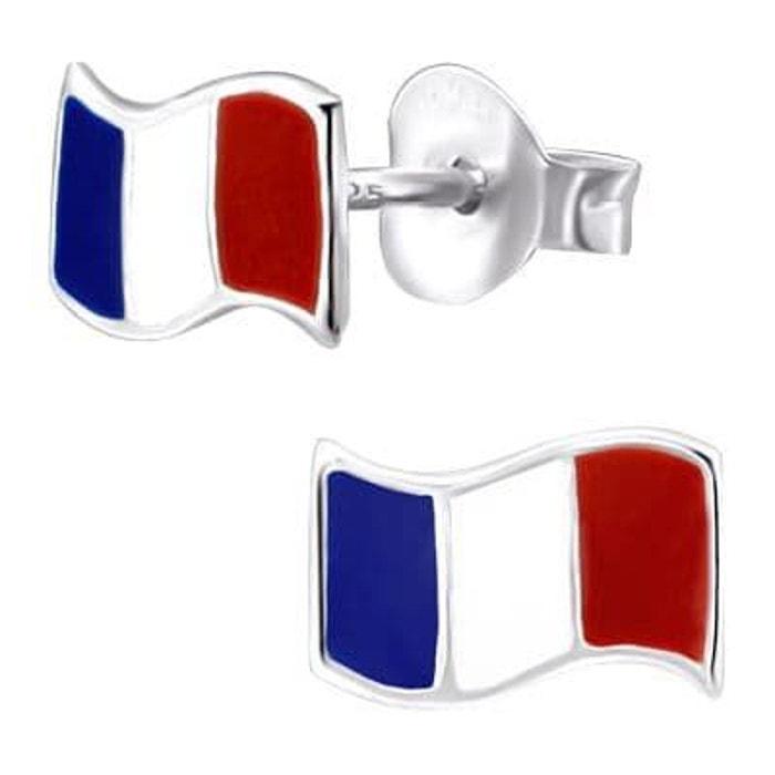 Boucles d 39 oreilles drapeau france ondul email bleu blanc rouge argent 925 couleur unique so - La redoute contact mail ...