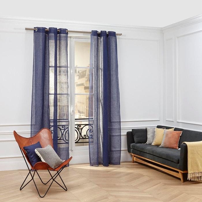 voilage oeillets shadow bleu nuit madura la redoute. Black Bedroom Furniture Sets. Home Design Ideas