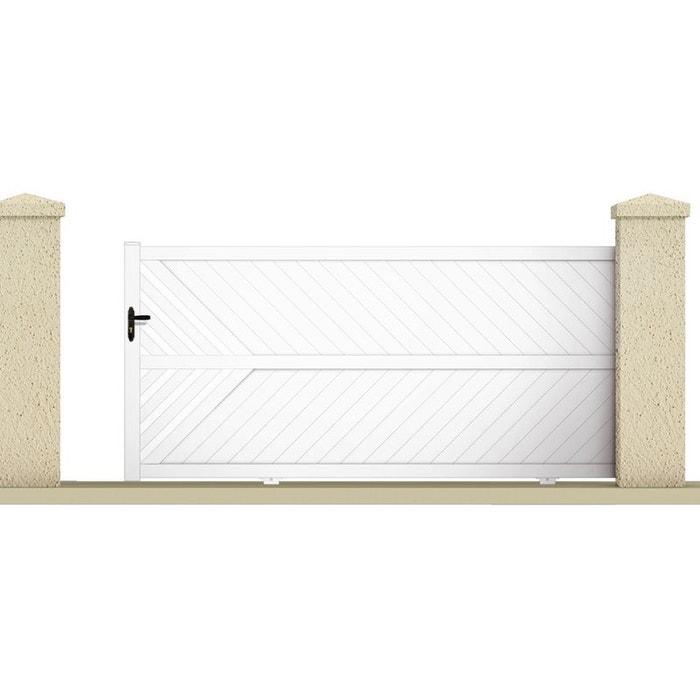 Portail coulissant ixion 3 55 m pvc coloris blanc for Portillon jardin pvc blanc