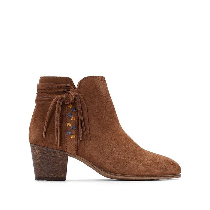 Boots cuir détail tresse  La Redoute Collections image 0