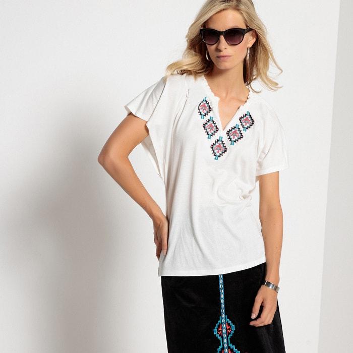 1fff7485d95a Embroidered ruffled folk t-shirt Anne Weyburn | La Redoute