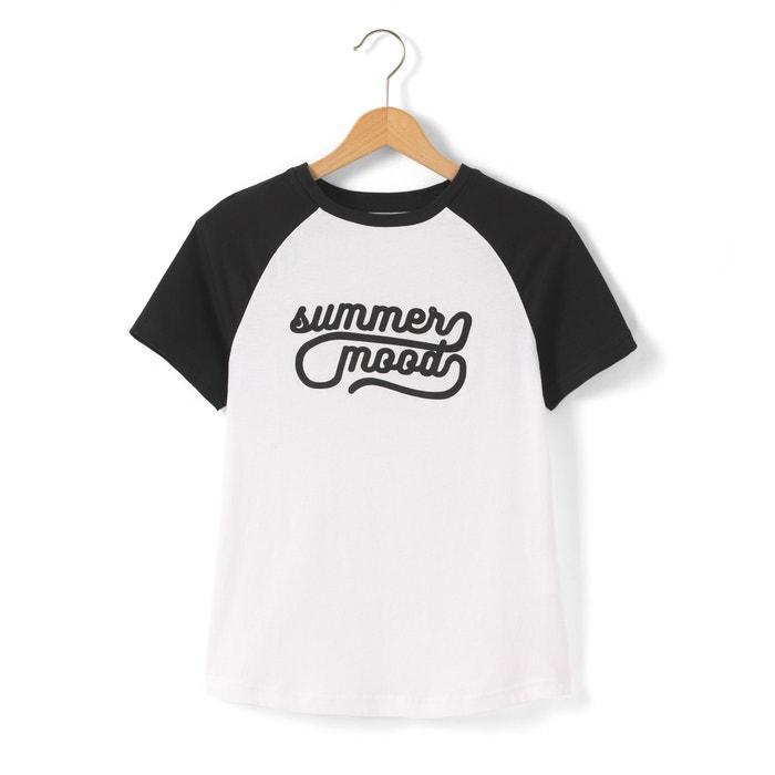 afbeelding Bedrukt bicolor T-shirt met korte mouwen 10-16 jr La Redoute Collections