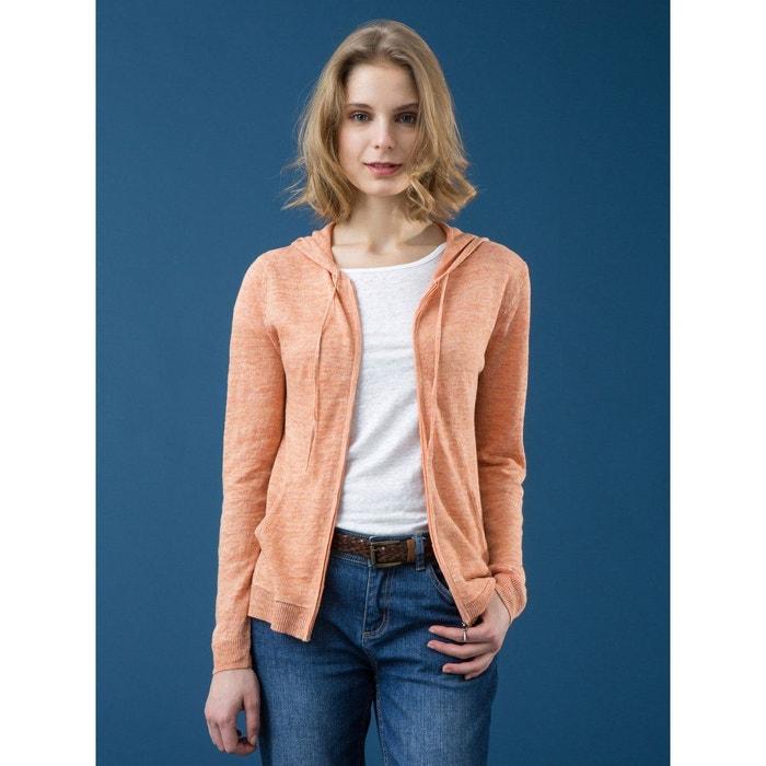 79216a68ba5ed Gilet femme pur lin chiné à capuche, larache orange chiné Somewhere   La  Redoute