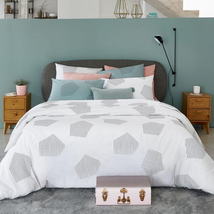 housse de couette pur coton hexa blanc la redoute. Black Bedroom Furniture Sets. Home Design Ideas