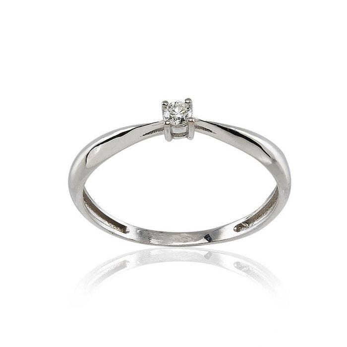 Jeu Fiable Beaucoup De Styles Solitaire en or 375/1000 blanc et diamant blanc Cleor   La Redoute uOd6ux