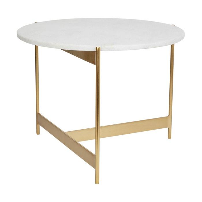 Table Basse Omarbre Marbre Métale Et Marbre Blanc 38 X ø50 Cm Blanc  Absolument Maison | La Redoute