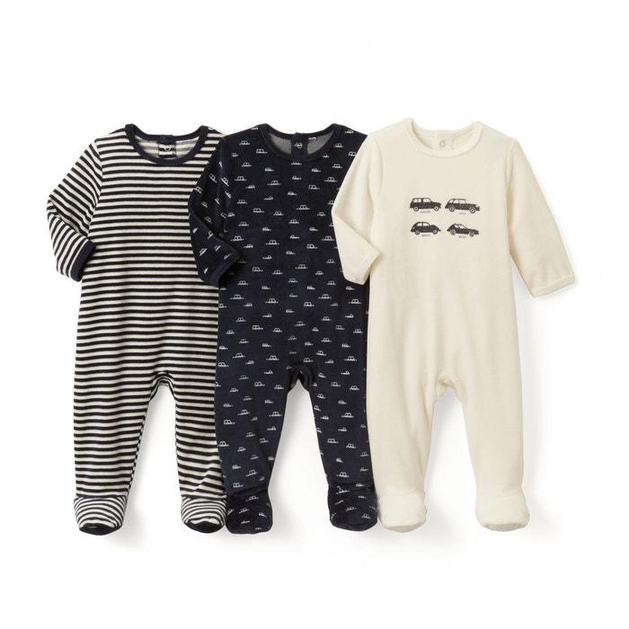 Lot de 3 pyjamas imprimés en velours - Oeko Tex La Redoute Collections