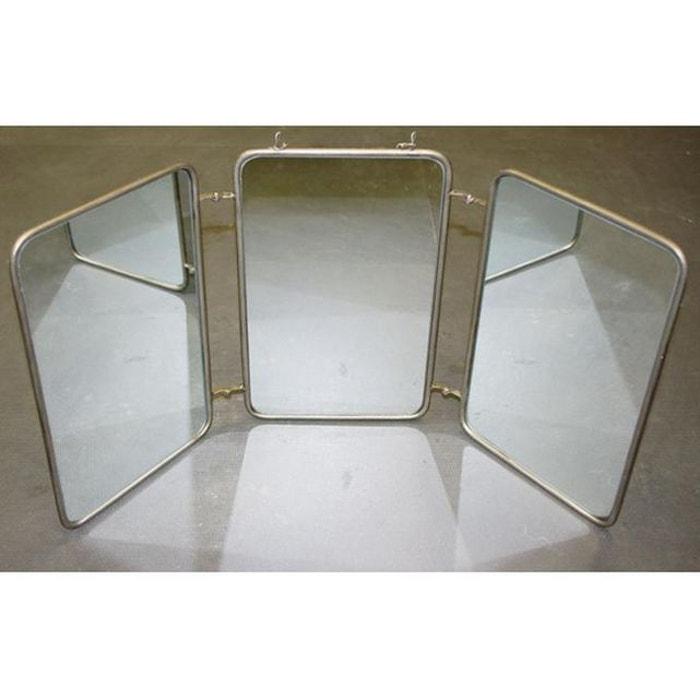 Miroir triptyque style vintage 60x32 barbire gris Declikdeco | La ...