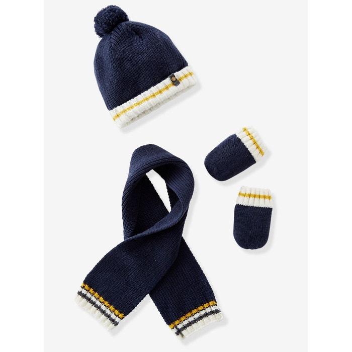 0fa70da21e6 Ensemble bonnet + écharpe + moufles tricot doublé bébé garçon bleu foncé  Vertbaudet