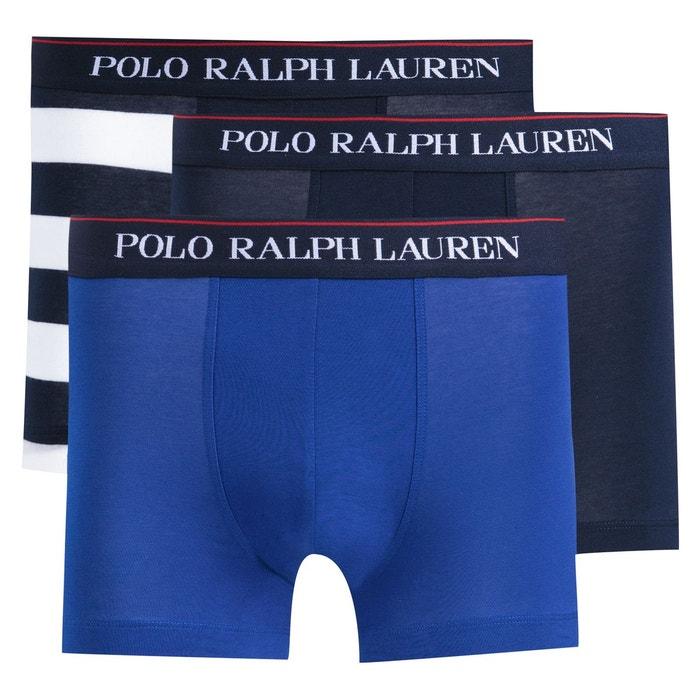 Lot de 3 boxers bleu marine + rayé bleu bleu mar Polo Ralph Lauren   La  Redoute d88a638fbc6
