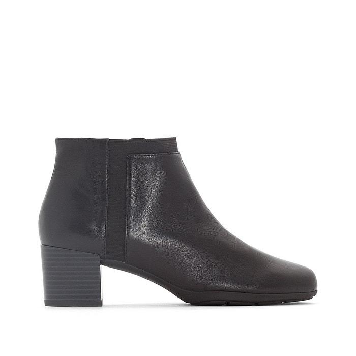 Boots cuir annya mid noir Geox   La Redoute e014876cb211
