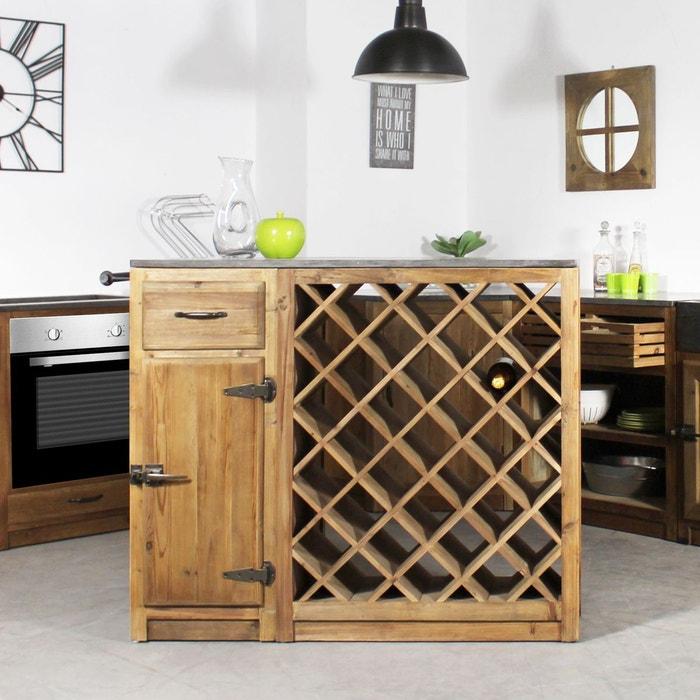 Centre de cuisine 1 tiroir 1 porte range bouteille Meuble range bouteille