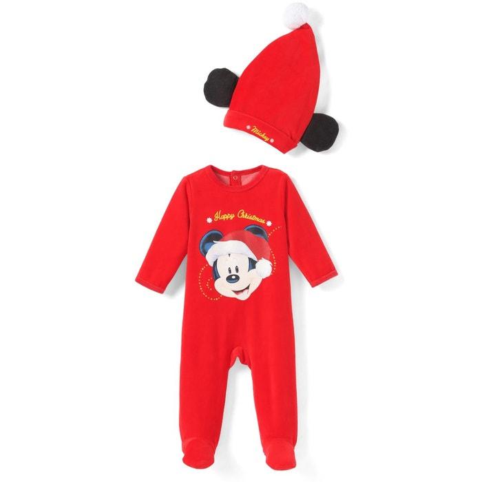 Pyjama 1 pièce, imprimé Mickey Mouse, + bonnet