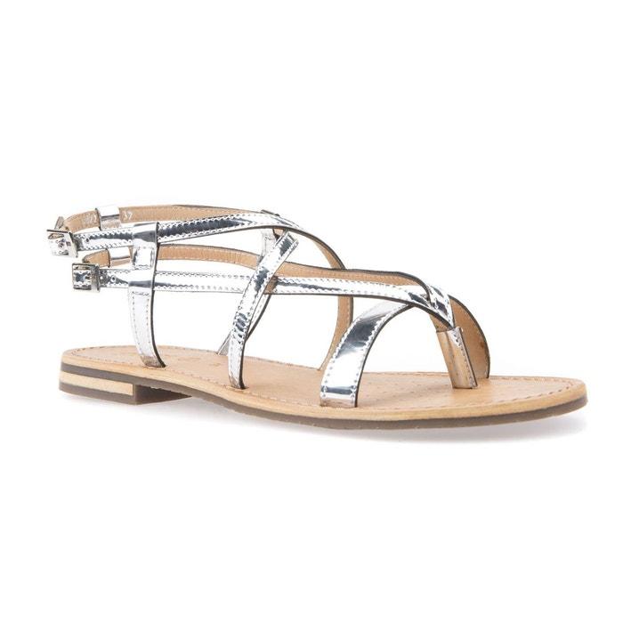 Sandales plates en cuir coloris argent argent Geox