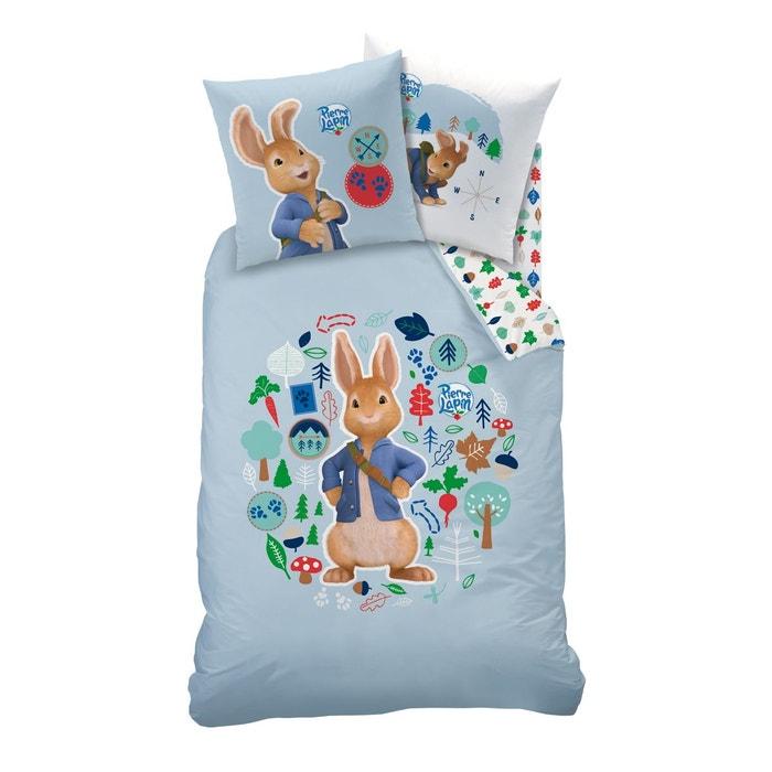 housse de couette 1 place 1 taie d 39 oreiller pierre lapin 100 coton bleu pierre le lapin la. Black Bedroom Furniture Sets. Home Design Ideas