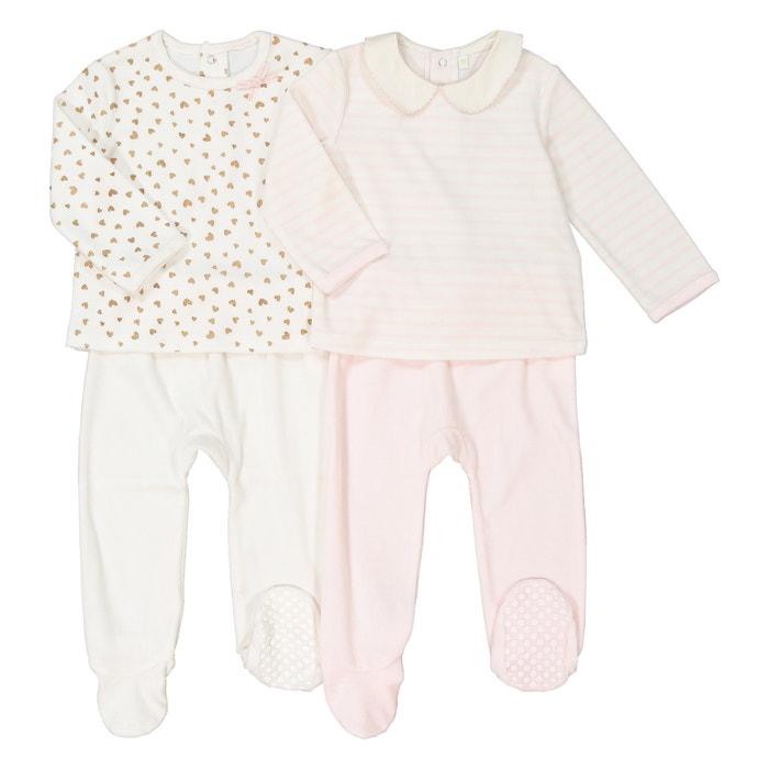 9ecf7de15 Lote de 2 pijamas de 2 prendas de terciopelo 0 mes–3 años crudo + rosa La  Redoute Collections