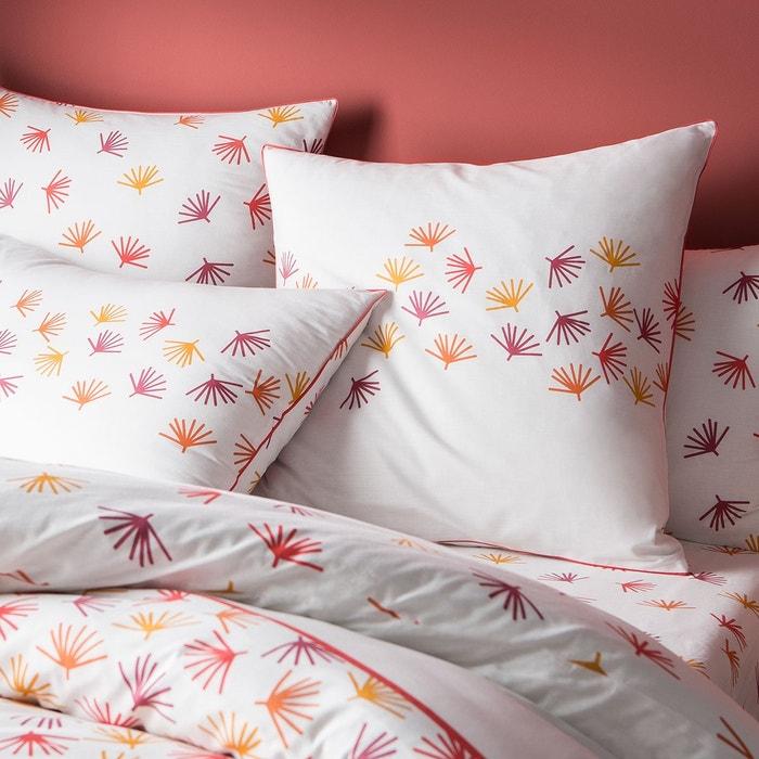 taie d 39 oreiller imprim fantaisie graphique d inspiration jungle 100 coton matt et rose blanc. Black Bedroom Furniture Sets. Home Design Ideas