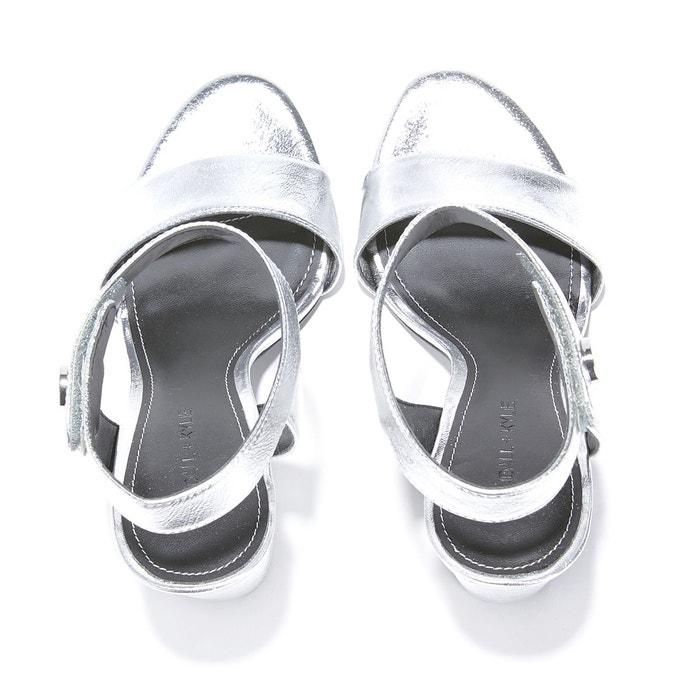 Sandales cuir de chèvre métallisé cuir rowan argent Kendall + Kylie