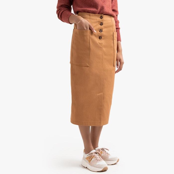 Jupe droite longue en pur coton