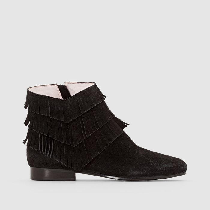 afbeelding Boots in suèdineleer met hak en franjes, Abile MELLOW YELLOW