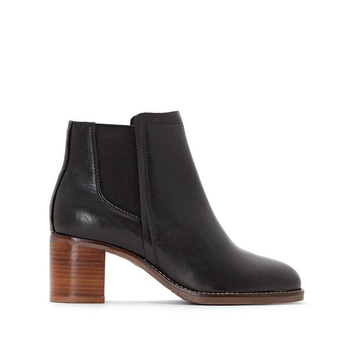 Boots en cuir à talon haut noir La Redoute Collections   La Redoute 7fc0be9f4245