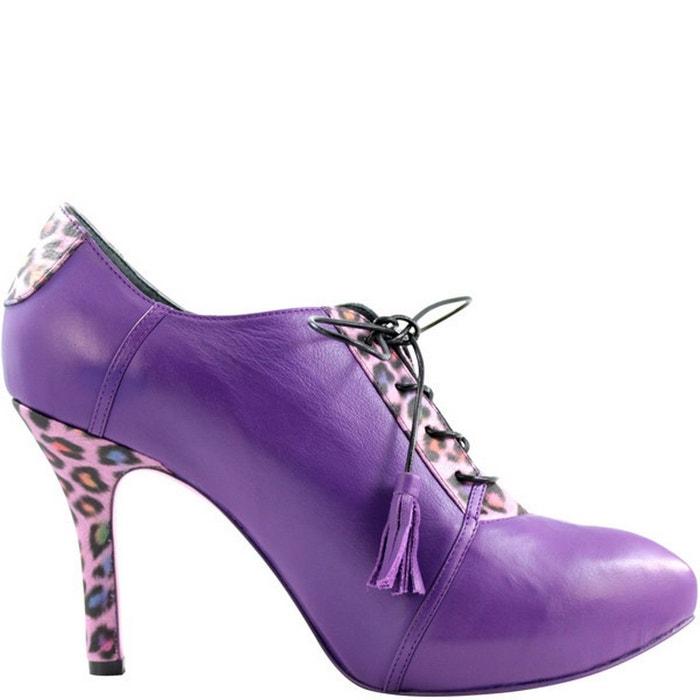 PRING BIS en Violet ENID femme Chaussures PARIS cuir qF7qrn