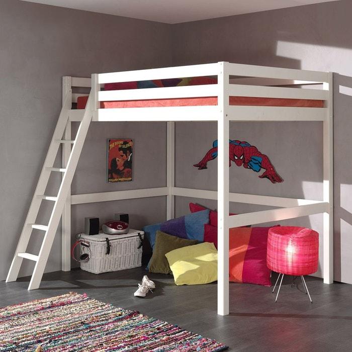 lit mezzanine h190 140x200 chelle inclin e pin armance faustin blanc blanc alfred et. Black Bedroom Furniture Sets. Home Design Ideas