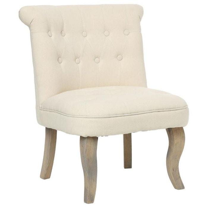 fauteuil crapaud capitonn en tissu couleur beige et pieds bois 56x61xh73cm beige pier import. Black Bedroom Furniture Sets. Home Design Ideas
