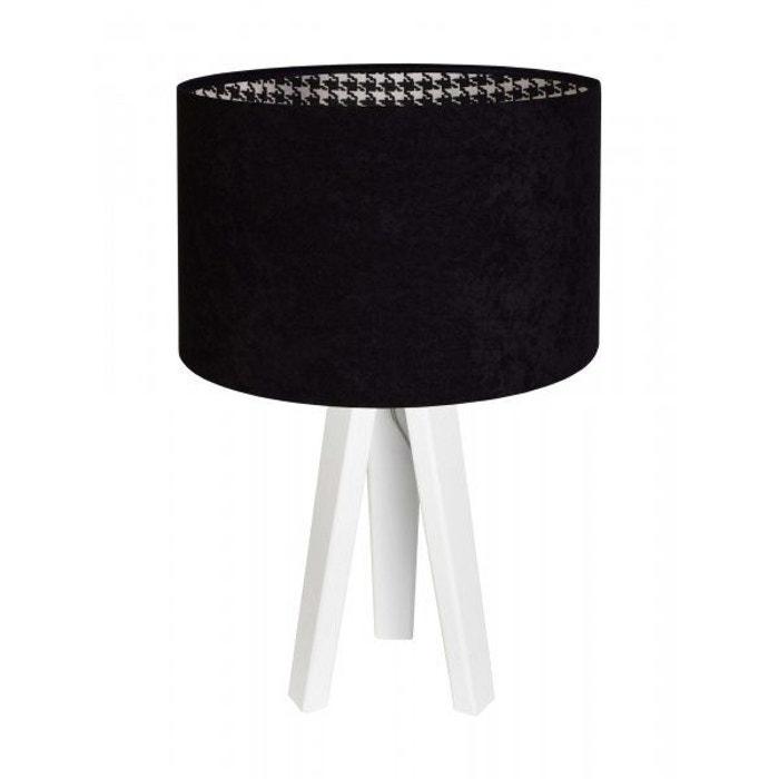 Lampe Poule lampe de chevet modern velour avec intérieur motif pied de poule