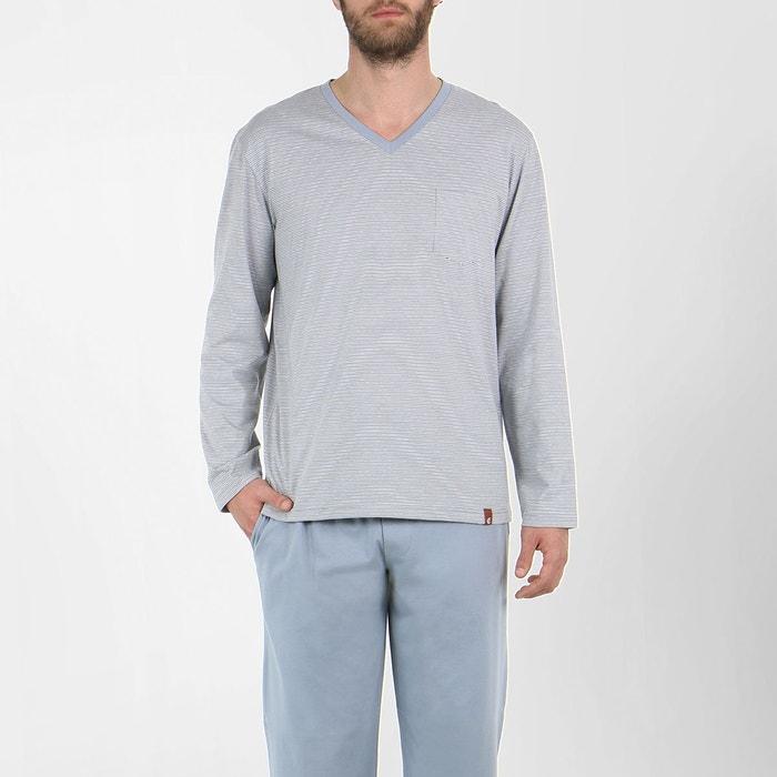 pyjama homme long voyage rayures gris eminence la redoute. Black Bedroom Furniture Sets. Home Design Ideas