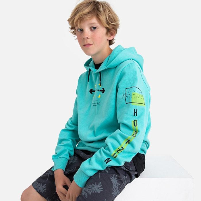 e3fa4fcb4acf5 Sweat à capuche en molleton 10-16 ans, oeko-tex La Redoute Collections bleu  turquoise   La Redoute