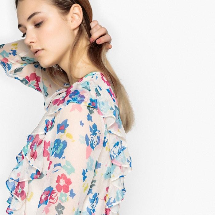 de recta cuello y JEANS flores Camisa redondo con PEPE estampado 8PUOwq